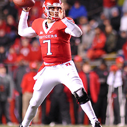 Oct 16, 2009; Piscataway, NJ, USA; Rutgers quarterback Tom Savage (7) throws a pass during second half NCAA football action in Pittsburgh's 24-17 victory over Rutgers at Rutgers Stadium.