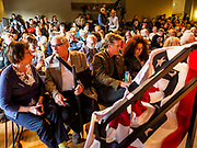 25 APRIL 2019 - CEDAR RAPIDS, IOWA: People wait for US Sen. Elizabeth Warren (D MA) to make a campaign appearance at the Linn Phoenix Club in Cedar Rapids. The Linn Phoenix Club is an organization that promotes Democratic candidates in Linn County, Iowa. Sen. Warren is campaigning in eastern Iowa Thursday night and Friday to promote her bid to the Democratic candidate for the US Presidency. Iowa traditionally hosts the the first selection event of the presidential election cycle. The Iowa Caucuses will be on Feb. 3, 2020.           PHOTO BY JACK KURTZ