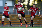 Ethan Blackadder of the Crusaders makes a break during the Round 5 Trans-Tasman Super Rugby match between Melbourne Rebels and Canterbury Crusaders at Leichhardt Oval in Sydney, Saturday, June 12, 2021. (AAP Image/Dan Himbrechts) NO ARCHIVING, EDITORIAL USE ONLY