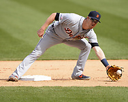 CHICAGO - APRIL 28:  Gordon Beckham #29 of the Detroit Tigers fields against the Chicago White Sox on April 28, 2019 at Guaranteed Rate Field in Chicago, Illinois.  (Photo by Ron Vesely)  Subject:   Gordon Beckham