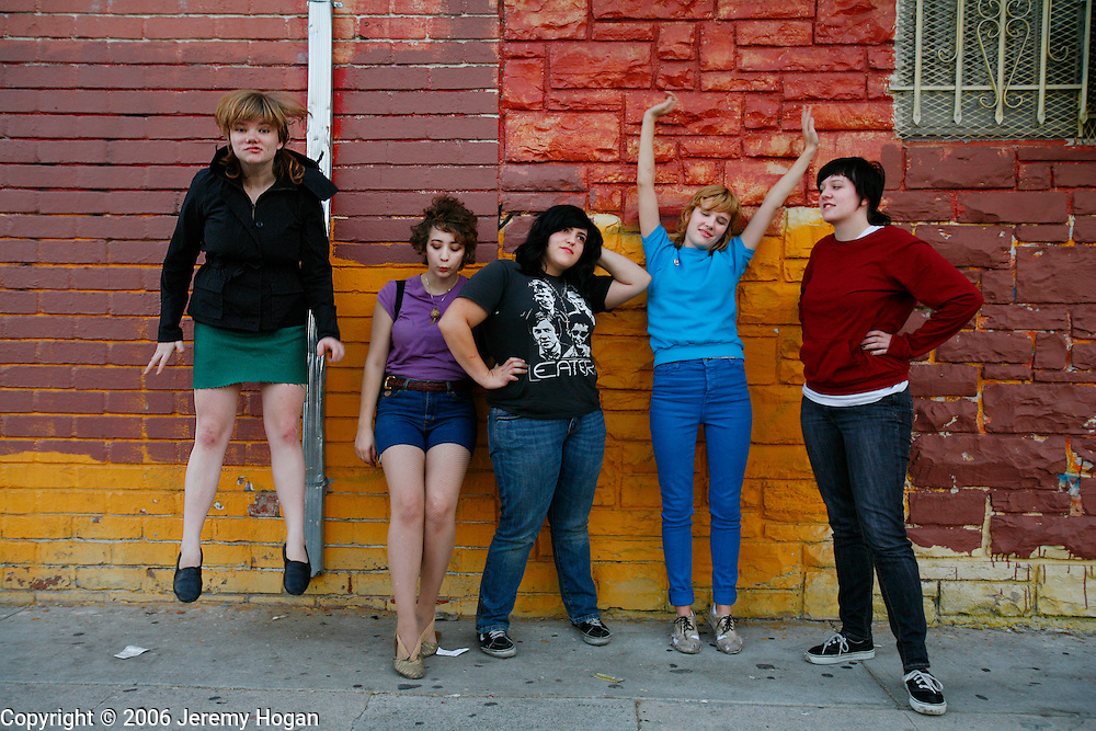 Members of the all girl punk band Mika Miko pose for a band photo in Los Angeles.