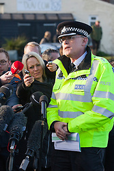 © Licensed to London News Pictures. 08/01/2013. Cley Next to Sea, UK. CSI Bob Scully Norfolk Constabulary talks to media. The scene where a US Air Force (USAF) helicopter crashed on marshland on Cley Next to Sea, Norfolk. Four people are believed to have died when the  HH-60G Pave Hawk helicopter came down over a nature reserve while on a training exercise. Photo credit : Terry Harris/LNP