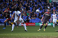 Carlisle United's Gary Madine chips the ball forward. Skybet football league 1 match, Tranmere Rovers v Carlisle United at Prenton Park in Birkenhead, England on Saturday 29th March 2014.<br /> pic by Chris Stading, Andrew Orchard sports photography.