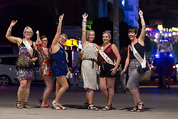 © Licensed to London News Pictures.  02/07/2021. Magaluf, Spain. A group of friends from England celebrating a hen party in Magaluf as Balearic Islands were added on the UK 'green list' on Wednesday. Photo credit: Marcin Nowak/LNP