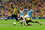 Gabriel Jesus (33) of Manchester City shoots at goal  during the The FA Cup Final match between Manchester City and Watford at Wembley Stadium, London, England on 18 May 2019.