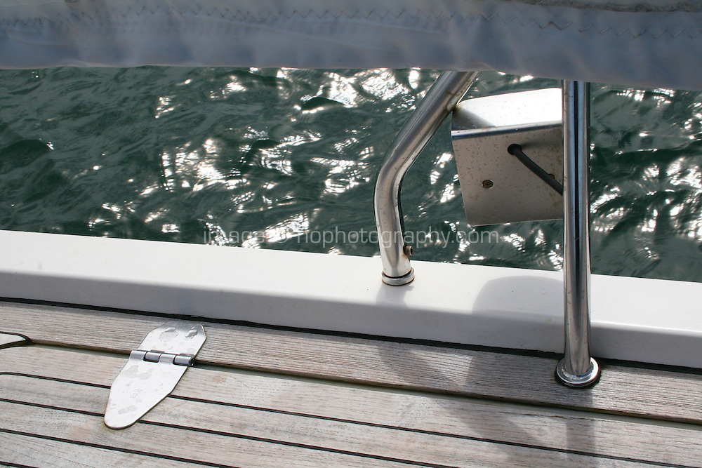 Decking and sail on sailing boat