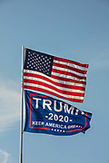 Trump support flags erected in Cajun Palms RV Resort on 28th February 2020 in Breaux Bridge, Louisiana, United States.
