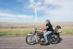Rick Salisbury of Utah on his 1916 Excelsior during the Motorcycle Cannonball Race of the Century. Stage-8 from Wichita, KS to Dodge City, KS. USA. Saturday September 17, 2016. Photography ©2016 Michael Lichter.