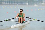 Chungju, South Korea. Sunday Heats, MEX. LM1X. Alan Eber ARMENTA VEGA. Moves away from the start on the opening day of the 2013 FISA World Rowing Championships, Tangeum Lake International Regatta Course. 10:28:02  Sunday  25/08/2013 [Mandatory Credit. Peter Spurrier/Intersport Images]