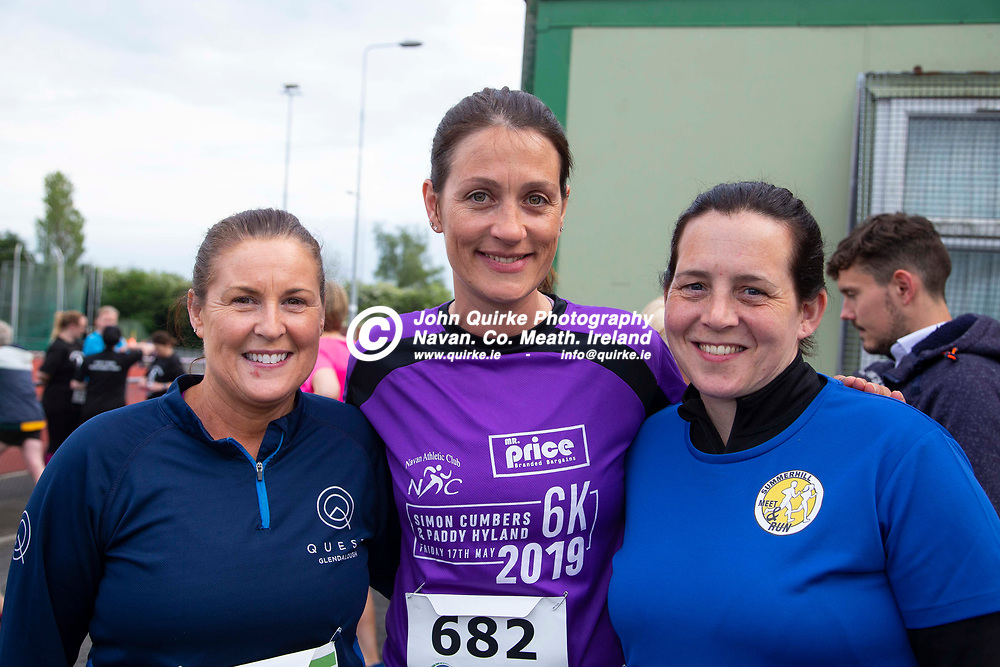 17/05/2019, Simon Cumbers and Paddy Hyland Memorial 6k road race at Claremont Stadium<br /> Athletes pictured before the Simon Cumbers and Paddy Hyland Memorial 6k road race, L-R, Sandra Fetherston (Trim) with Louise Hayes & Sandra Boggan (Summerhill)<br /> Photo: David Mullen / www.quirke.ie ©John Quirke Photography, Unit 17, Blackcastle Shopping Cte. Navan. Co. Meath. 046-9079044 / 087-2579454.<br /> ISO: 400; Shutter: 1/250; Aperture: 5; <br /> File Size: 2.2MB