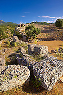 Kounos ampitheatre which could sit 5000 people. The theatre has hellanistic & Roman features . Kounos (Counos) Archaeological Site, Dalyan, Turkey<br /> <br /> If you prefer to buy from our ALAMY PHOTO LIBRARY  Collection visit : https://www.alamy.com/portfolio/paul-williams-funkystock/dalyan-lycian-tombs-and-kaunos.html<br /> <br /> Visit our TURKEY PHOTO COLLECTIONS for more photos to download or buy as wall art prints https://funkystock.photoshelter.com/gallery-collection/3f-Pictures-of-Turkey-Turkey-Photos-Images-Fotos/C0000U.hJWkZxAbg