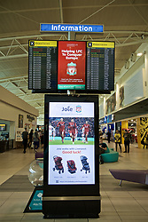 LIVERPOOL,  ENGLAND - Friday, May 31, 2019: Good luck messages on the boarding information screens at Liverpool John. Lennon Airport ahead of the. UEFA Champions League Final between Tottenham Hotspur FC and Liverpool FC in Madrid. (Pic by David Rawcliffe/Propaganda)