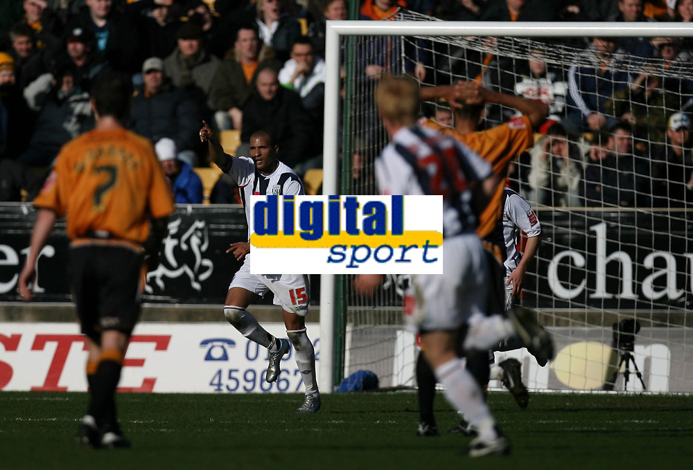 Photo: Rich Eaton.<br /> <br /> Wolverhampton Wanderers v West Bromwich Albion. The FA Cup. 28/01/2007. West Broms Diomansy Kamara celebrates putting West Brom 1-0 up late in the first half
