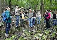 Salisbury Mills, New York - George Muser of the Hudson Highlands Nature Museum talks during a hike through Clove Brook Farm at the base of Schunnemunk Mountain on Oct. 2, 2010. The outing was organized by the Hudson Highlands Nature Museum.