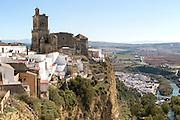 Cliff top buildings church of San Pedro, village of Arcos de la Frontera, Cadiz province, Spain