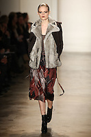 Hanne Gaby Odiele walks the runway wearing Altuzarra Fall 2011 Collection during Mercedes-Benz Fashion Week in New York on February 12, 2011