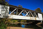 USA, Oregon, Scio, the Larwood Bridge, covered bridge over Crabtree Creek in early Autumn.