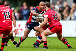 Tom Varndell of Bristol Rugby is challenged by Mark Best of Jersey Reds - Rogan/JMP - 28/10/2017 - RUGBY UNION - Stade Santander International - St Peter, Jersey - Jersey Reds v Bristol Rugby - Greene King IPA Championship.
