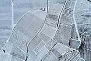 aerial shot of vineyards in winter, Valais