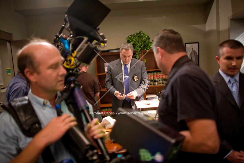 Law & Order: Criminal Intent star  Vincent D'Onofrio on set during the filming of an episode in New York.