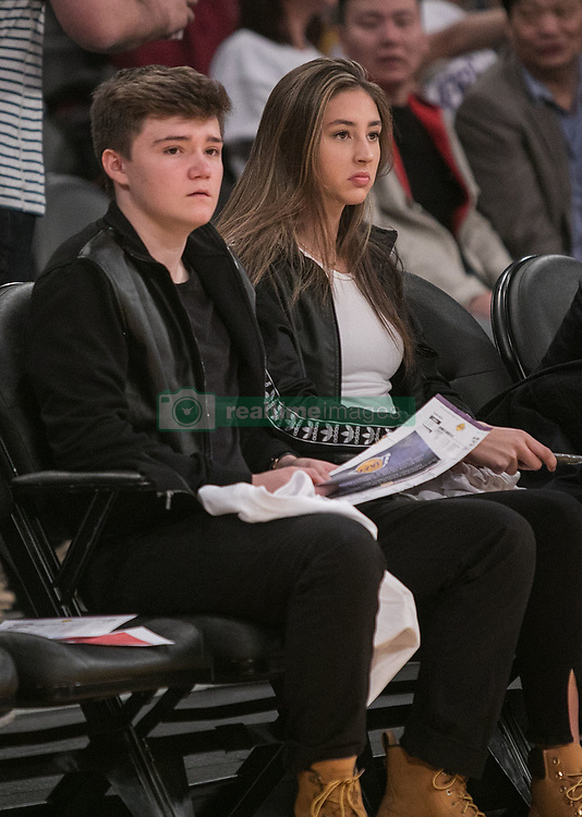 February 8, 2018 - Los Angeles, California, U.S - Scarlet Rose Stallone (R) and guest attends the NBA game between the Los Angeles Lakers and the Oklahoma Thunder on Thursday February 8, 2018 at the Staples Center in Los Angeles, California. Lakers defeat Thunder, 106-81. (Credit Image: © Prensa Internacional via ZUMA Wire)