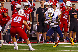 NORMAL, IL - September 21: Dylan Draka closes in on Stacy Chukwumezie during a college football game between the ISU (Illinois State University) Redbirds and the Northern Arizona University (NAU) Lumberjacks on September 21 2019 at Hancock Stadium in Normal, IL. (Photo by Alan Look)