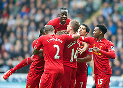 19.10.2013, St. James Park, New Castle, ENG, Premier League, ENG, Premier League, Newcastle United vs FC Liverpool, 8. Runde, im Bild Liverpool's captain Steven Gerrard [hidden] is mobbed by team-mates after scoring the first equalising goal against Newcastle United // during the English Premier League 8th round match between Newcastle United and Liverpool FC St. James Park in New Castle, Great Britain on 2013/10/19. EXPA Pictures © 2013, PhotoCredit: EXPA/ Propagandaphoto/ David Rawcliffe<br /> <br /> *****ATTENTION - OUT of ENG, GBR*****