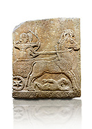Hittite relief sculpted orthostat stone panel of Long Wall Limestone, Karkamıs, (Kargamıs), Carchemish (Karkemish), 900 - 700 B.C. Chariot. Anatolian Civilisations Museum, Ankara, Turkey<br /> <br /> One of the two figures in the chariot holds the horse's headstall while the other throws arrows. There is a naked enemy with an arrow in his hip lying face down under the horse's feet It is thought that this figure is depicted smaller than the other figures since it is an enemy soldier. The lower part of the orthostat is decorated with braiding motifs. . <br /> <br /> On a White Background. .<br />  <br /> If you prefer to buy from our ALAMY STOCK LIBRARY page at https://www.alamy.com/portfolio/paul-williams-funkystock/hittite-art-antiquities.html  - Type  Karkamıs in LOWER SEARCH WITHIN GALLERY box. Refine search by adding background colour, place, museum etc.<br /> <br /> Visit our HITTITE PHOTO COLLECTIONS for more photos to download or buy as wall art prints https://funkystock.photoshelter.com/gallery-collection/The-Hittites-Art-Artefacts-Antiquities-Historic-Sites-Pictures-Images-of/C0000NUBSMhSc3Oo