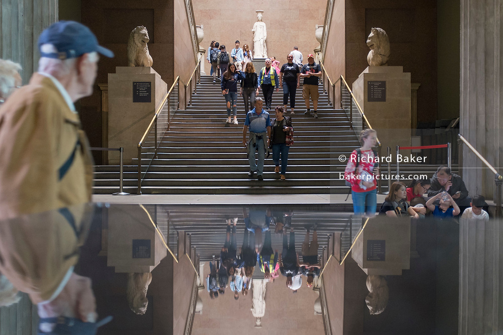 Visitors and the South Stairs of the British Museum, on 12th June 2018, in London, England.