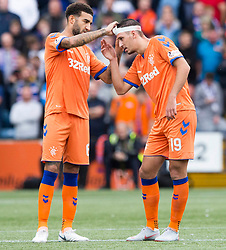 Rangers' Connor Goldson (left) adjusts the head bandage of Nikola Katic during the Betfed Cup Second Round match at Rugby Park, Kilmarnock.