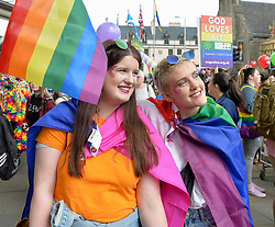 Thousands of marchers rallied outside the Scottish Parliament to celebrate the annual Scotia Pride march through Edinburgh.<br /> <br /> © Dave Johnston / EEm