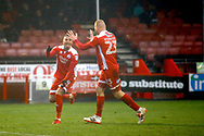 Crawley Town forward Karlan Ahearne-Grant and Crawley Town forward Thomas Verheydt (23) celebrates his goal (score 2-0) during the EFL Sky Bet League 2 match between Crawley Town and Grimsby Town FC at the Checkatrade.com Stadium, Crawley, England on 10 February 2018. Picture by Andy Walter.