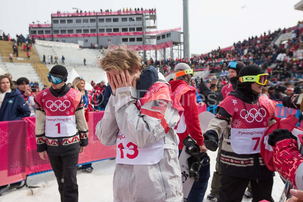 Kyle Mack, USA, at the mens snowboard big air flower ceremony at the Pyeongchang 2018 Winter Olympics on 24th February 2018, at the Alpensia Ski Jumping Centre in Pyeongchang-gun, South Korea