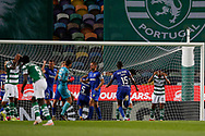 João Mário misses a penalty kick during the Liga NOS match between Sporting Lisbon and Belenenses SAD at Estadio Jose Alvalade, Lisbon, Portugal on 21 April 2021.