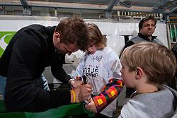 Andrej Hocevar of Slovenia signing autographs to the fans at ice-hockey match between Slovenia and Kazakhstan, on April 12, 2011 at Hala Tivoli, Ljubljana, Slovenia. (Photo By Matic Klansek Velej / Sportida.com)