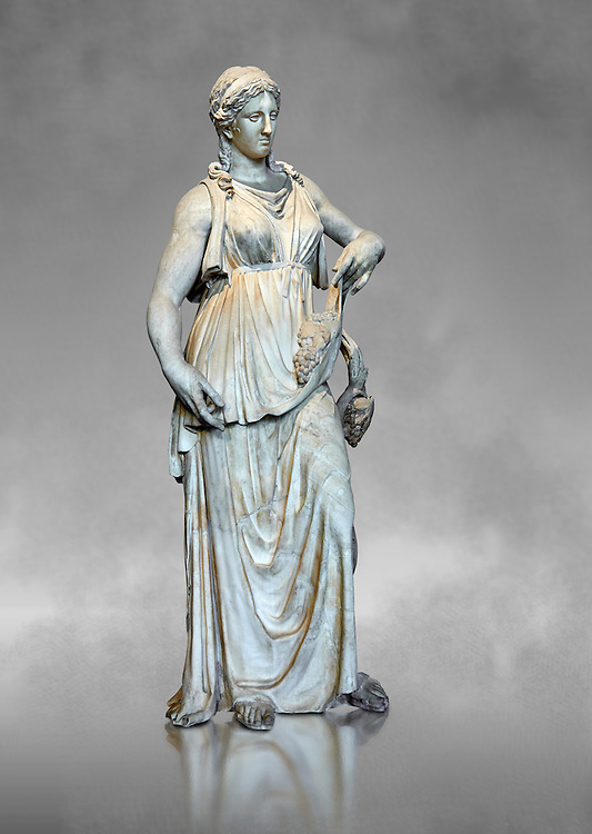 Bacchante or Ariadne, a Roman marble statue of circa 150 - 200 AD. The bunch of grapes wrapped in the folds of her garment suggest that the statue depicts either Bacchante or Ariadne both  companions of Dionysus. The statue belongs to a very limited series of replicas (Florence, Venice, Rome, Cyrene) reproducing a Greek original lost year circa 300 BC made by the school from Rhodes. The Borghese collection inv MR 102 ( or Ma 676), Louvre Museum Paris .<br /> <br /> If you prefer to buy from our ALAMY STOCK LIBRARY page at https://www.alamy.com/portfolio/paul-williams-funkystock/greco-roman-sculptures.html- Type -    Louvre    - into LOWER SEARCH WITHIN GALLERY box - Refine search by adding a subject, place, background colour,etc.<br /> <br /> Visit our CLASSICAL WORLD HISTORIC SITES PHOTO COLLECTIONS for more photos to download or buy as wall art prints https://funkystock.photoshelter.com/gallery-collection/The-Romans-Art-Artefacts-Antiquities-Historic-Sites-Pictures-Images/C0000r2uLJJo9_s0c