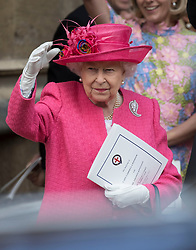 May 18, 2019 - Windsor, United Kingdom - Image licensed to i-Images Picture Agency. 18/05/2019. Windsor , United Kingdom. Queen Elizabeth II waves to the bridge and groom as they leave the Lady Gabriella Windsor  wedding at St.George's Chapel, Windsor, United Kingdom. (Credit Image: © Stephen Lock/i-Images via ZUMA Press)