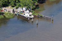 Aerial of the Chester-Hadlyme Ferry, across the Connecticut River at Chester, CT