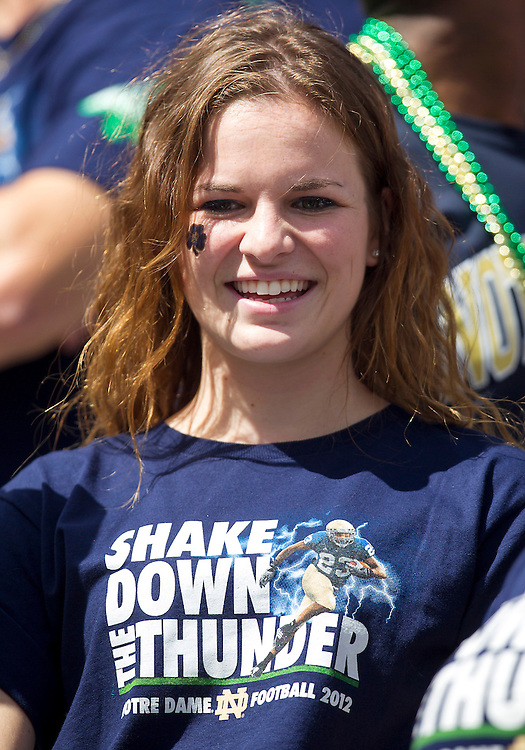 September 08, 2012:  A Notre Dame fan during NCAA Football game action between the Notre Dame Fighting Irish and the Purdue Boilermakers at Notre Dame Stadium in South Bend, Indiana.  Notre Dame defeated Purdue 20-17.