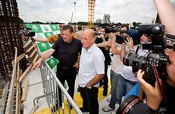 Mayor of Ljubljana Zoran Jankovic and Coach of NK Olimpija Brane Oblak at open door day 1 year before opening of new football stadium and sports hall in Stozice,  on June 30, 2009, at Stadium Stozice, Ljubljana, Slovenia. (Photo by Vid Ponikvar / Sportida)