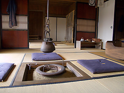 Interior of traditional Japanese farmhouse on display at The Historical Museum of Hokkaido in Sapporo Japan