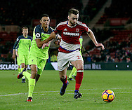 Trent Alexander-Arnold of Liverpool tussles with Calum Chambers of Middlesbrough during the English Premier League match at the Riverside Stadium, Middlesbrough. Picture date: December 14th, 2016. Pic Simon Bellis/Sportimage