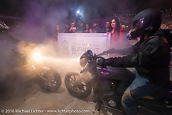 Victory announces getting the Guiness Book of World Records record for the world's longest burnout at the Victory Party at Main Street Station bar on Main Street during the Daytona Bike Week 75th Anniversary event. FL, USA. Saturday March 5, 2016.  Photography ©2016 Michael Lichter.