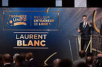 French head coach Laurent Blanc of Paris Saint Germain receives the 2015/2016 Trophy for Best Coach in French Ligue 1 Championship during the 25th UNFP (Union National des Footballeurs Professionnels) Trophies 2016 ceremony, on May 8, 2016, at Pavillon Gabriel in Paris, France - Photo Jean Marie Hervio / Regamedia / DPPI