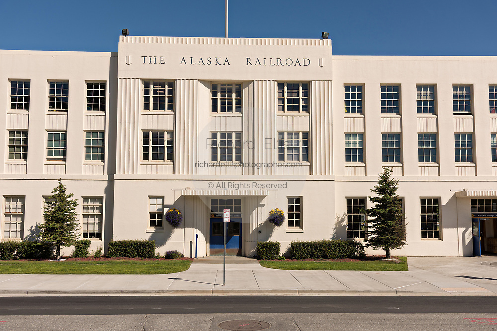 The Alaska Railroad depot in downtown Anchorage, Alaska.  The Moderne-style railroad station was built in 1942 and is the starting point of the Denali Star luxury train.