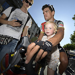 July 22, 2018 - Mende, FRANCE - Belgian Greg Van Avermaet of BMC Racing and his daughter Fleur pictured after the arrival of the 15th stage in the 105th edition of the Tour de France cycling race, from Millau to Carcassone (181,5km), France, Sunday 22 July 2018. This year's Tour de France takes place from July 7th to July 29th. BELGA PHOTO YORICK JANSENS (Credit Image: © Yorick Jansens/Belga via ZUMA Press)