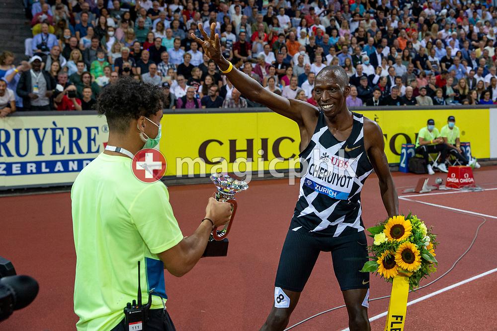 Timothy Cheruiyot of Kenya celebrates after winning the 1500m Men during the Iaaf Diamond League meeting (Weltklasse Zuerich) at the Letzigrund Stadium in Zurich, Switzerland, Thursday, Sept. 9, 2021. (Photo by Patrick B. Kraemer / MAGICPBK)