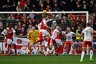A header over the bar from Ashley Eastham of Fleetwood Town  during the EFL Sky Bet League 1 match between Fleetwood Town and Blackpool at the Highbury Stadium, Fleetwood, England on 25 November 2017. Photo by Paul Thompson.