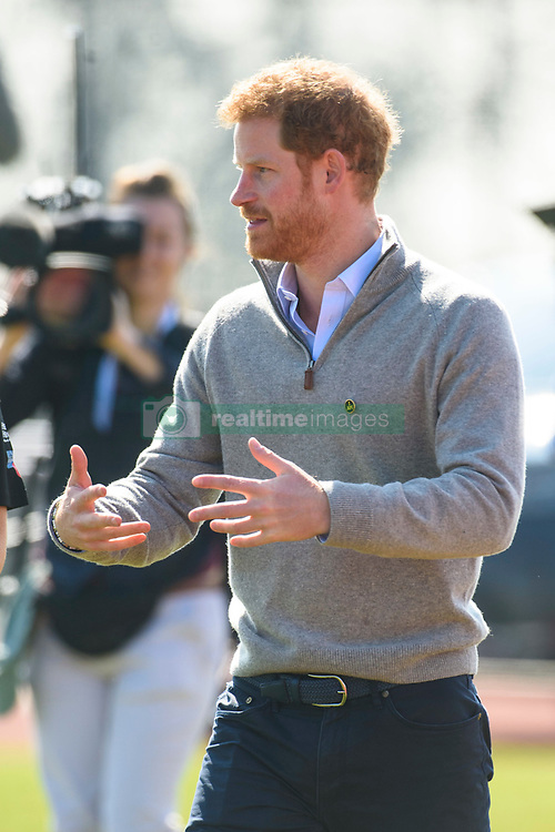 Prince Harry visits the University of Bath Sports Training Village, on behalf of the Invictus Games Foundation, in Bath. As part of the visit he will observe the UK team trials for the Invictus Games Toronto 2017. Picture date: Friday April 7th, 2017. Photo credit should read: Matt Crossick/ EMPICS Entertainment.