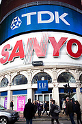 The famous Sanyo and TDK neon and electronic signs on the corner at Piccadilly Circus. These advertising signs have been for years one of London's most well known and iconic landmarks.